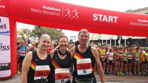 Cath, Jackie and Richard at the start line of the Malta Half Marathon